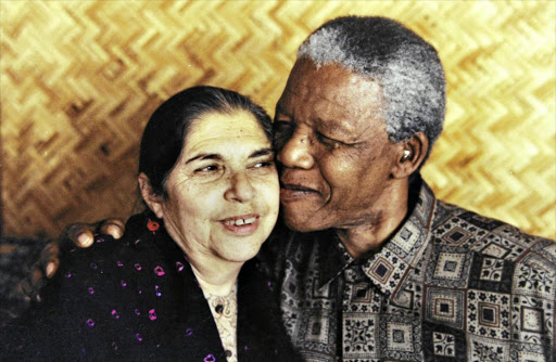 "Fatima Meer and Nelson Mandela at her home in 1995, image credit Richard Shorey, found in an article called ""Fatima Meer's tale of love in a time of treason"" published in the Sunday Times (of South Africa) on February 26, 2017 right before her autobiography was released."