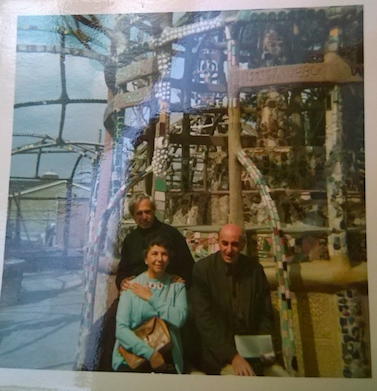 Hilda Kuper (center) with Leo Kuper (behind) and Max Gluckman (right) at Watts Towers, Los Angeles. Hilda Kuper Papers, Box 45, Folder 20.