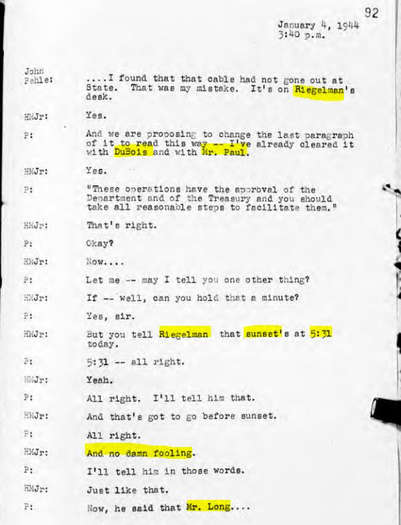 Transcript of conversation between John Pehle and HMJ, January 4, 1944, MD 690, pp. 92-94