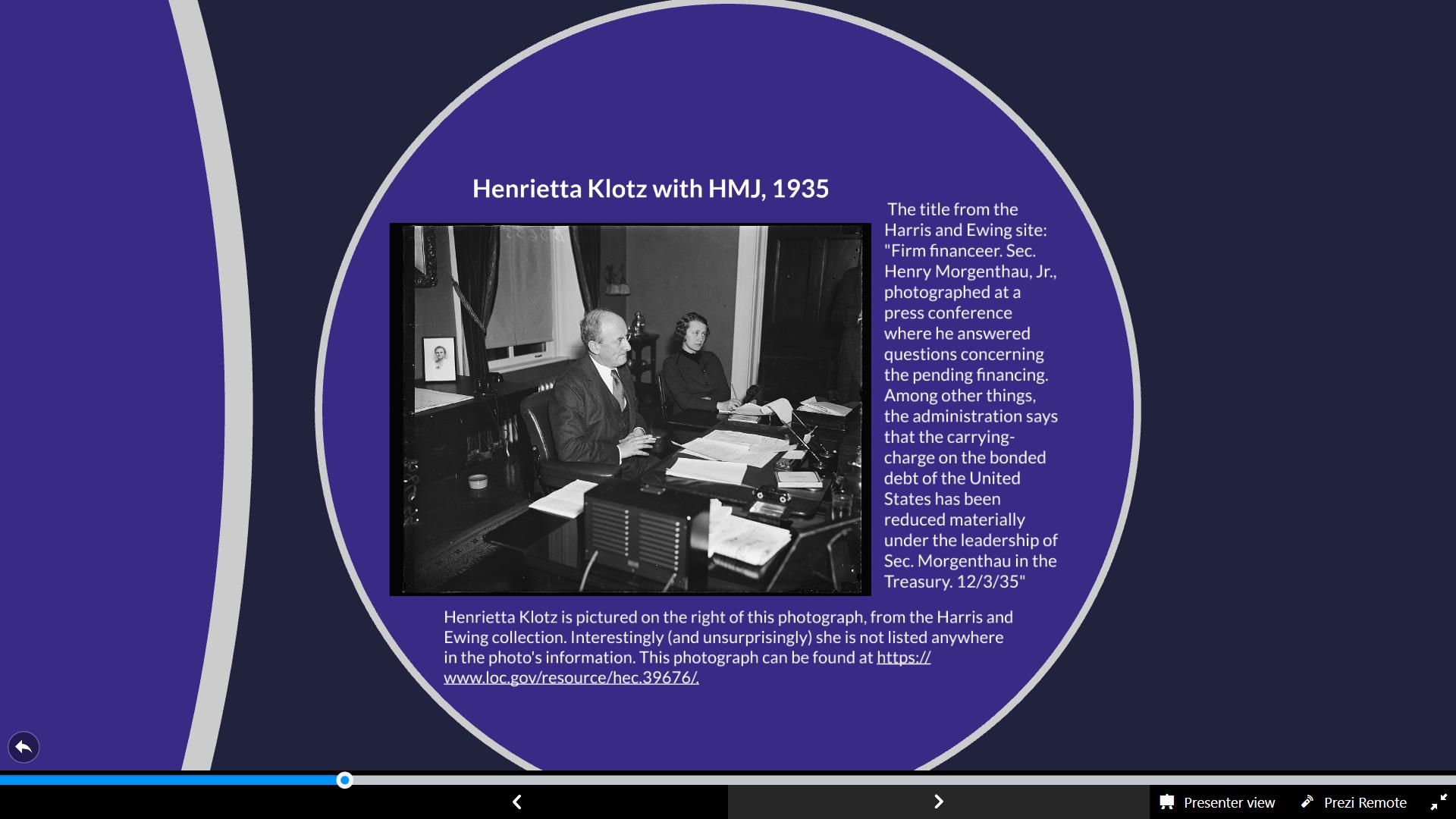 Slide 10, EHRI presentation, photograph Henrietta S. Klotz with HMJ, 1935