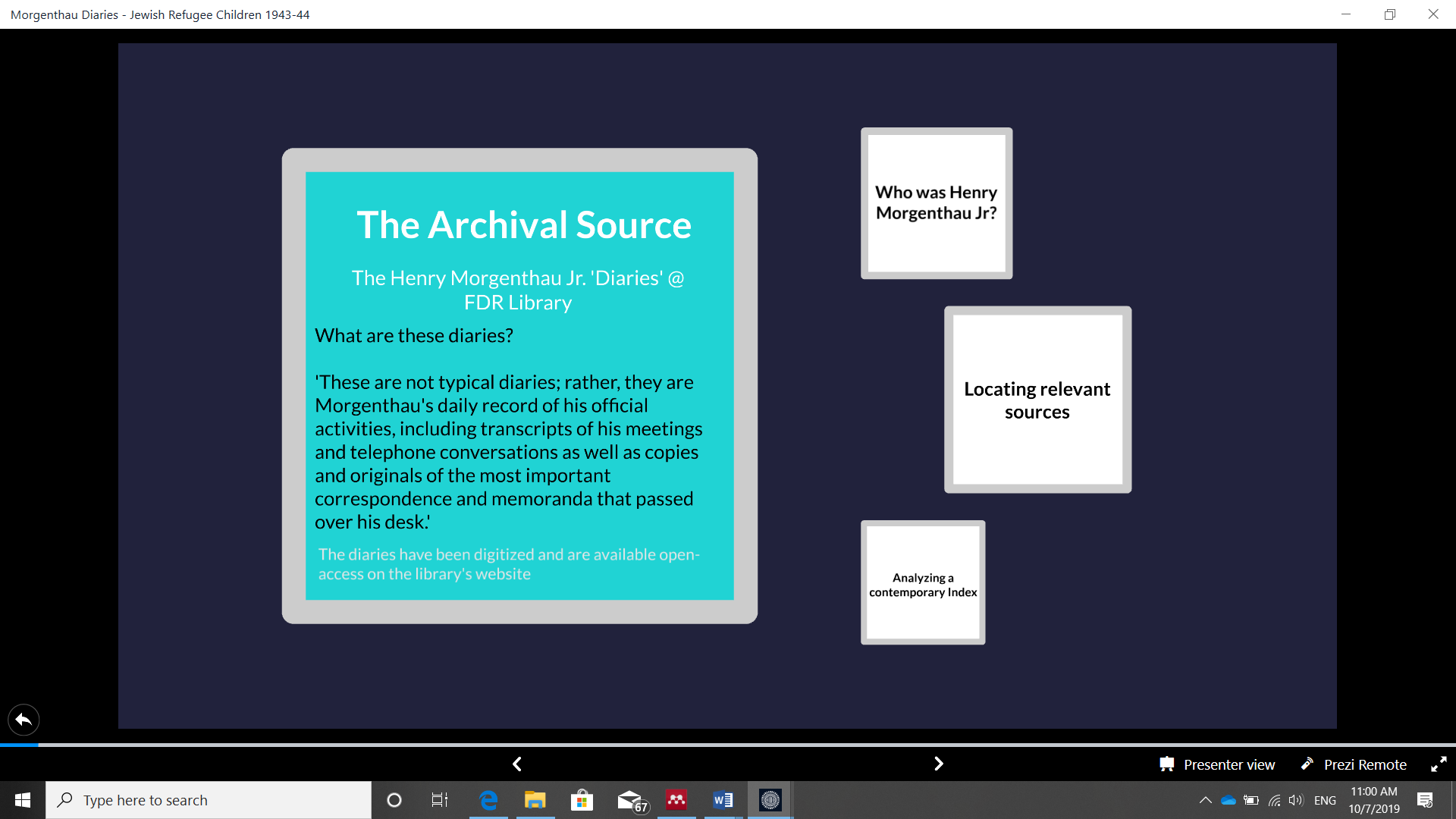 Slide 2 from EHRI presentation: description of Morgenthau Diaries