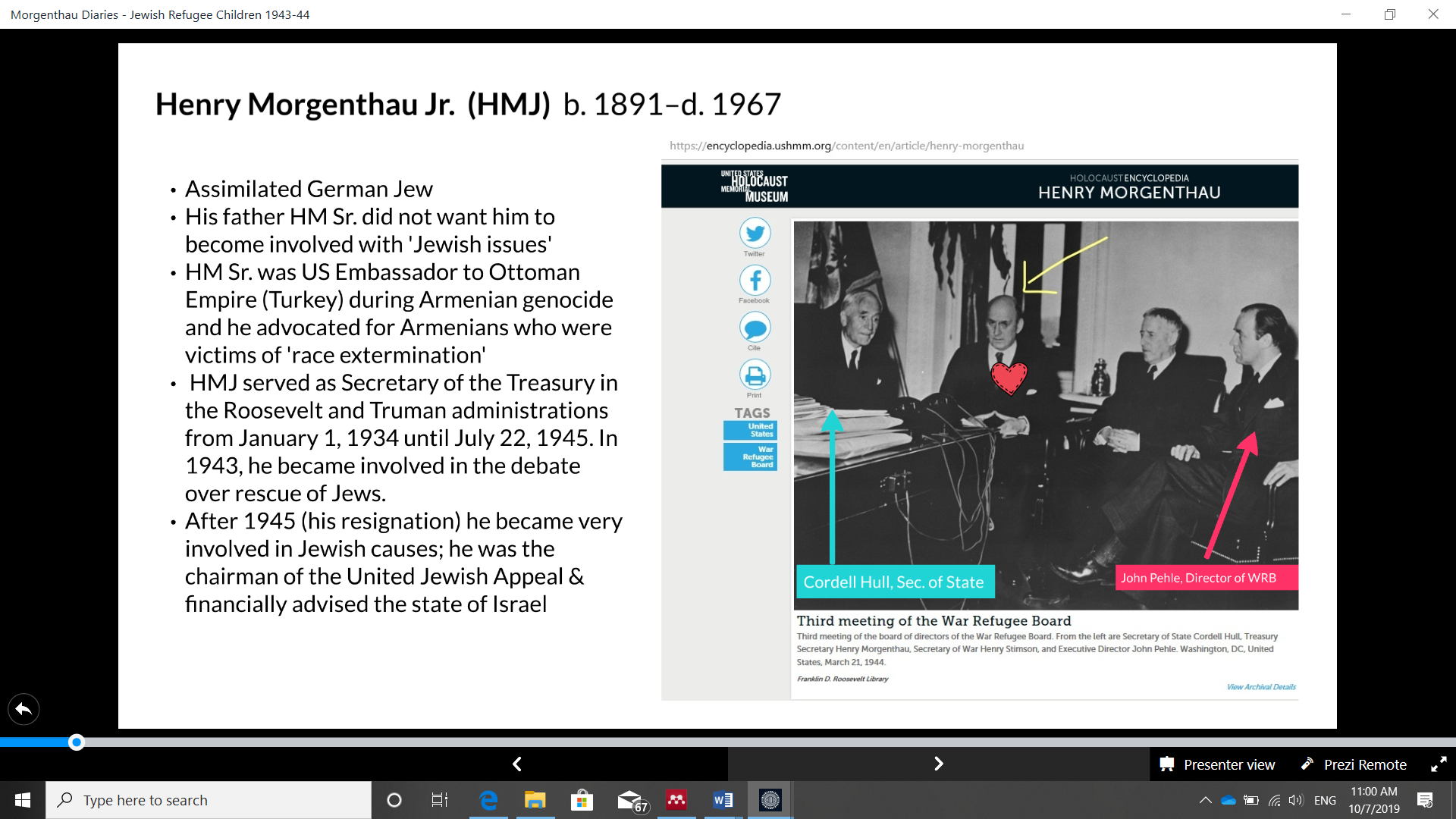 Slide 3 from EHRI presentation. Photograph of the Third Meeting of the War Refugee Board from USHMM, and brief historical biography of HMJ