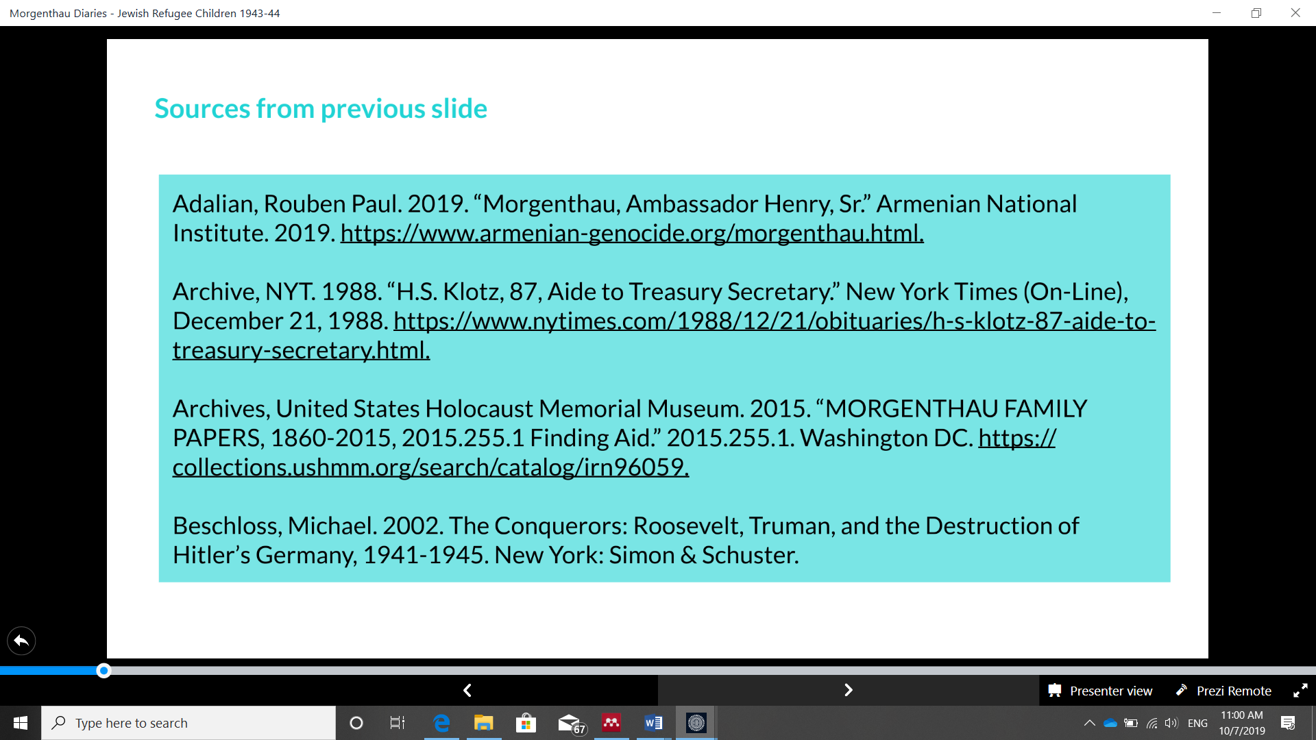 Slide 4 EHRI presentation: citation of sources