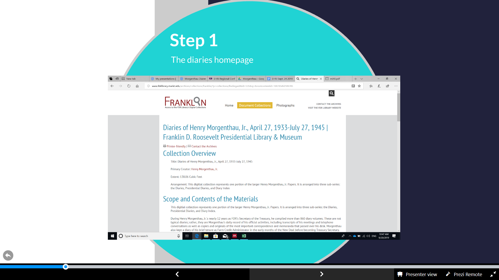 Slide 6, EHRI, How to find the MD using Franklin