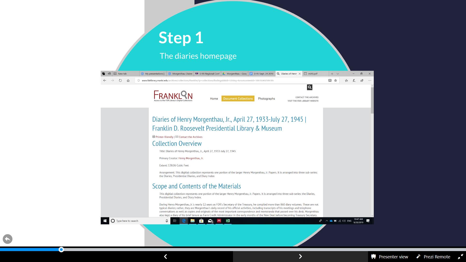 Slide 6, EHRI, How to find the MD using Franklin